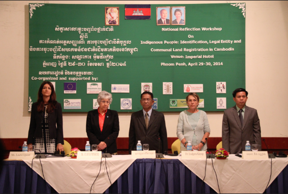 From left to right: Ms. Laura Liguori, Representative of the Delegation of the European Union to Cambodia, Ms.Flavia Pansieri, UN Deputy High Commissioner for Human Rights,  H.E. Sim Son, Advisor to the Ministry of Rural Development, Ms. Dr Ludgera Klemp, Counsellor and Head of Cooperation, Embassy of the Federal Republic of Germany Phnom Penh, Mr. Tek Vannara, Executive Director of the NGO Forum on Cambodia